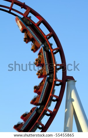 Roller Coaster Loop. - stock photo