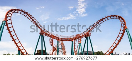 Roller Coaster, rail way curve and spin heart shape as panorama background