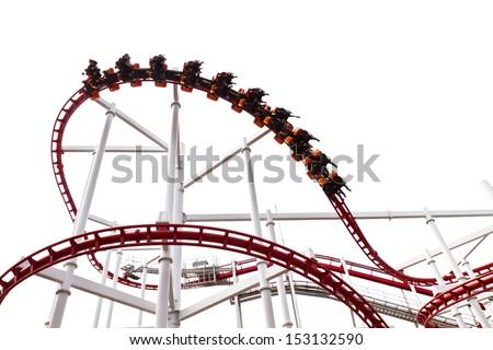 Roller Coaster Track on white background. - stock photo