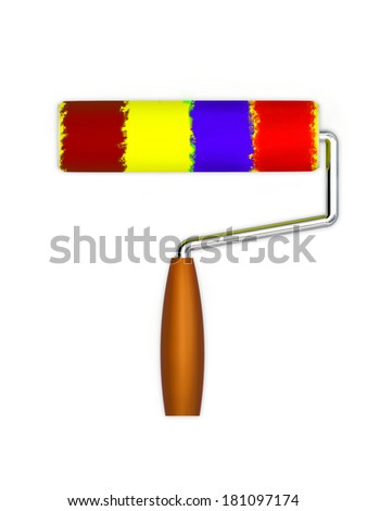 Roller for painting works isolated on white background