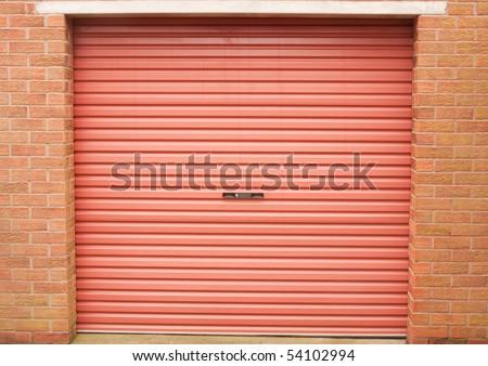 Roller garage door in red - stock photo
