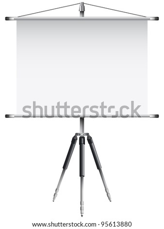 roller screen with tripod against white background, abstract art illustration - stock photo