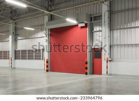 Roller shutter door and concrete floor inside factory building for industrial background. & Roller Shutter Door Concrete Floor Inside Stock Photo 233964796 ...
