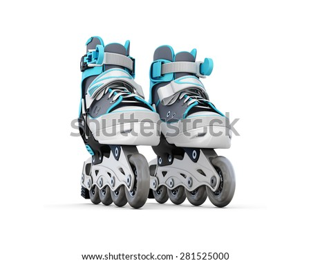 Roller skate close-up isolated on white background. 3d illustration. - stock photo