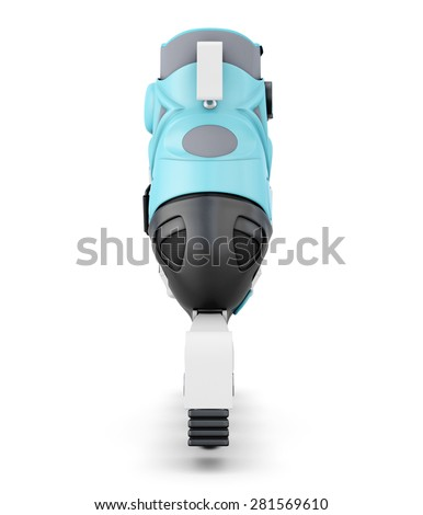 Roller skate rear view isolated on white background. 3d illustration. - stock photo