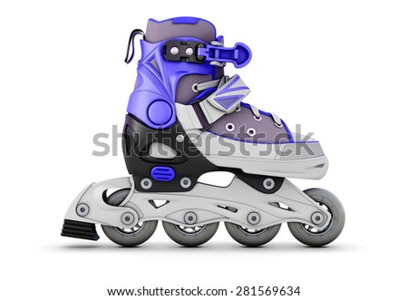 Roller skate side view isolated on white background. 3d render image. - stock photo