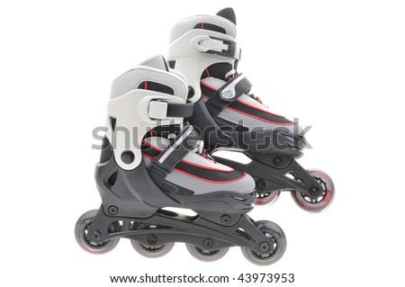 Roller skates closeup isolated on white background - stock photo