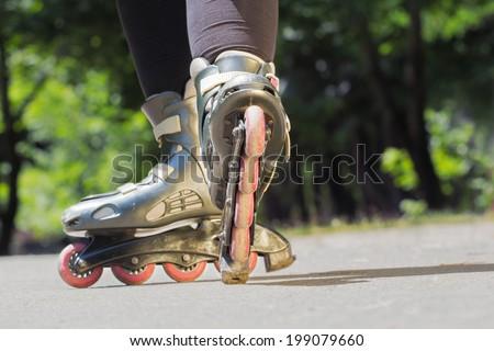 Rollerblade/Inline skates close-up. - stock photo