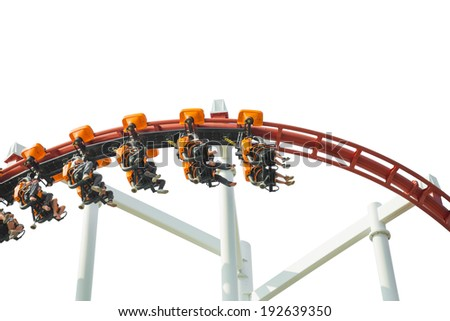 rollercoaster amusement park ride, isolated on white background - stock photo