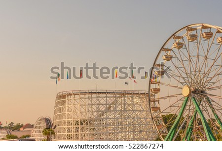 rollercoaster and ferris wheel