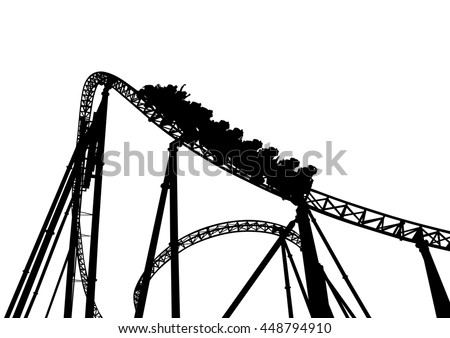 Rollercoaster in the park on a white background - stock photo