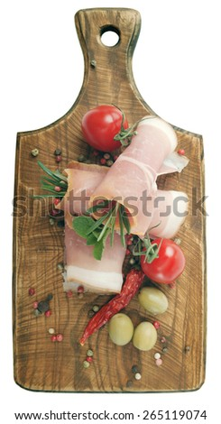 RolleRolled slices of hamd slices of ham - stock photo