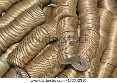 Rollers of ancient Chinese coins - stock photo