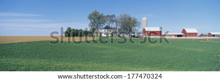 Rolling Farm Fields, Great River Road, Balltown, N.E. Iowa - stock photo