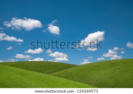 Rolling green fields and blue sky
