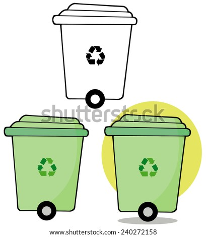 Rolling Green Recycle Bin. Raster Collection Set - stock photo