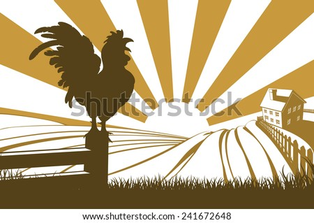 Rolling hills in a farm at sunrise with a farmhouse in the distance and a rooster or cockerel crowing on a fence - stock photo