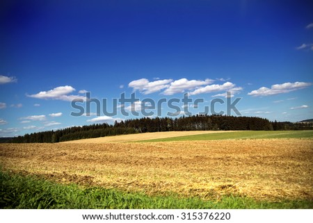 Rolling hills landscape in summer with forest trees lining horizon and blue sky with white clouds - stock photo