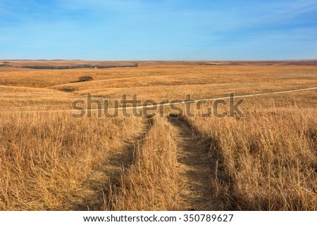 Rolling hills of the Tallgrass Prairie National Preserve near Strong City, KS.