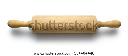 Rolling pin isolated on white - stock photo