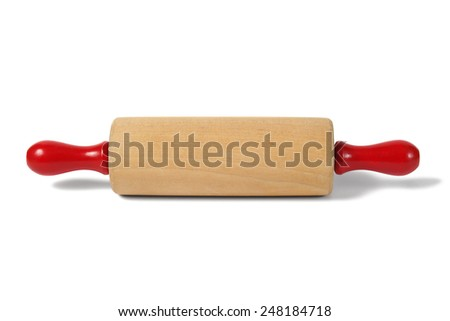 Rolling pin with red handles on white background - stock photo