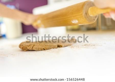 Rolling strudel dough. - stock photo