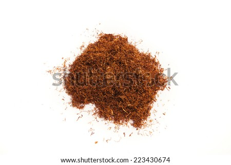 Rolling tobacco heap isolated on white