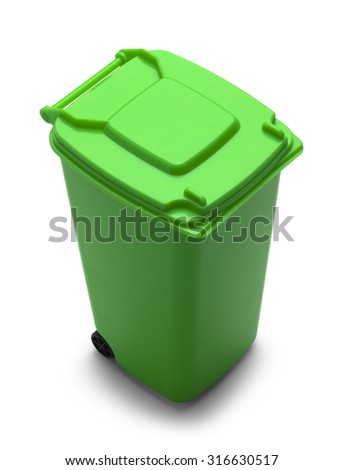 Rolling Trash Can with Copy Space Isolated on White Background.