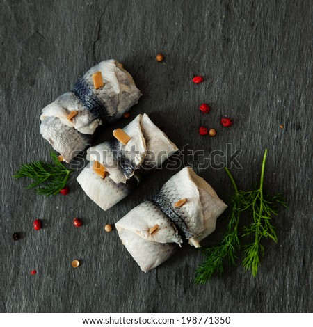 Rollmops - pickled herring fillets  - stock photo