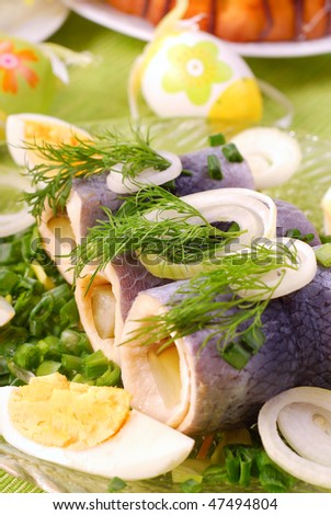 rollmops with gherkin and chive for ester