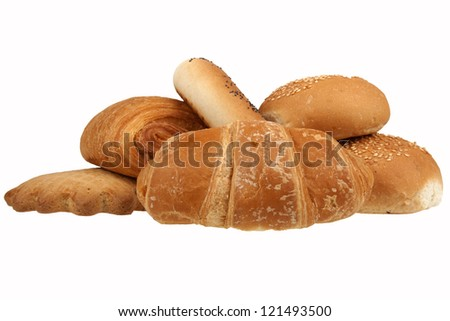 Rolls and crackers isolated on a white background