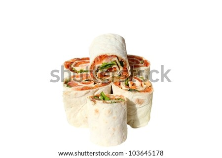 rolls filled with smoked salmon, cheese, lemon, tomato, dill and parsley