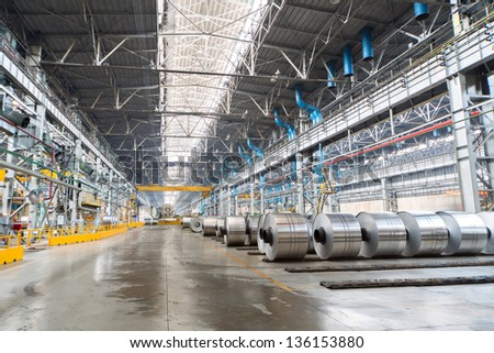 Rolls of aluminum are stored in a special place before transporting - stock photo