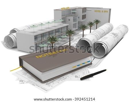Rolls of architectural and construction plans, the Hotel&Spa project on a white background. Composition in 3D - stock photo