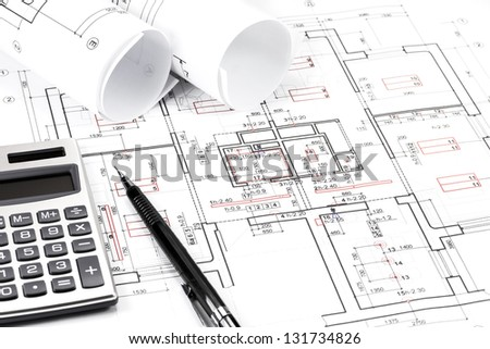 Rolls architecture blueprints house plans stock photo royalty free rolls of architecture blueprints and house plans malvernweather Images