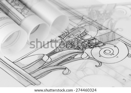 rolls of architecture blueprints & drawings Composite architectural order - stock photo