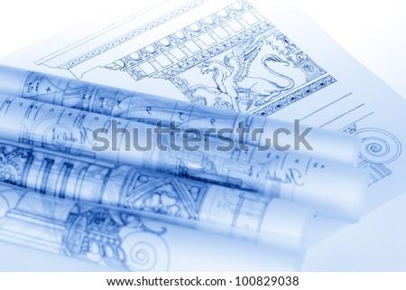 Rolls Architecture Blueprints House Plans Stock Photo