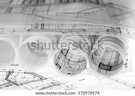 Architecture Blueprints House rolls architecture blueprints house plans stock photo 272110673