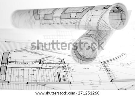 Architecture Blueprints House rolls architecture blueprints house plans stock photo 97855169