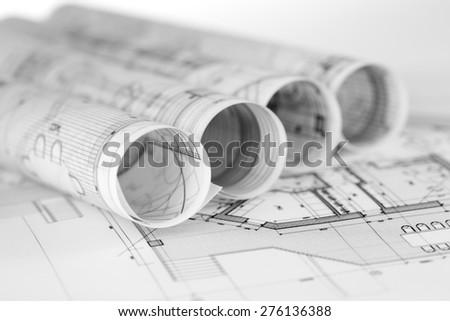 Architecture Blueprints rolls architecture blueprints house plans stock photo 272110673