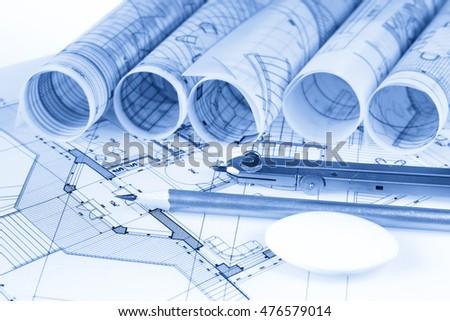 Architecture Blueprint Work Tools Pencil Compass Stock Photo