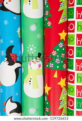 Rolls of Christmas Wrapping Paper