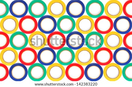 Rolls of color insulation adhesive tape background (Isolated) - stock photo