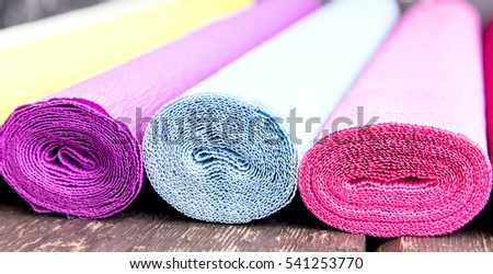 Rolls of colored parer