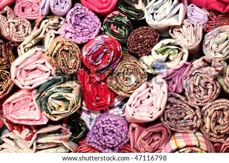 Rolls of fabric - stock photo