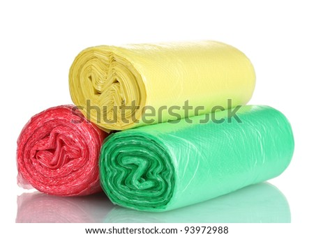 Rolls of garbage bags isolated on white - stock photo