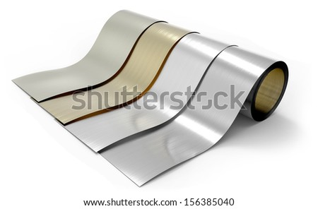 Rolls of metal foil - stock photo