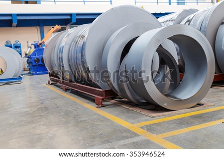 Rolls of metal sheet  for production in factory - stock photo