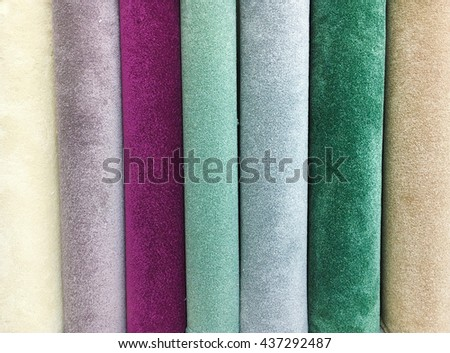 Rolls of new carpet in a homeware store