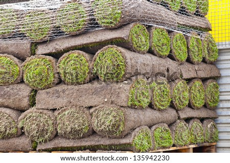 Rolls of new sod - stock photo